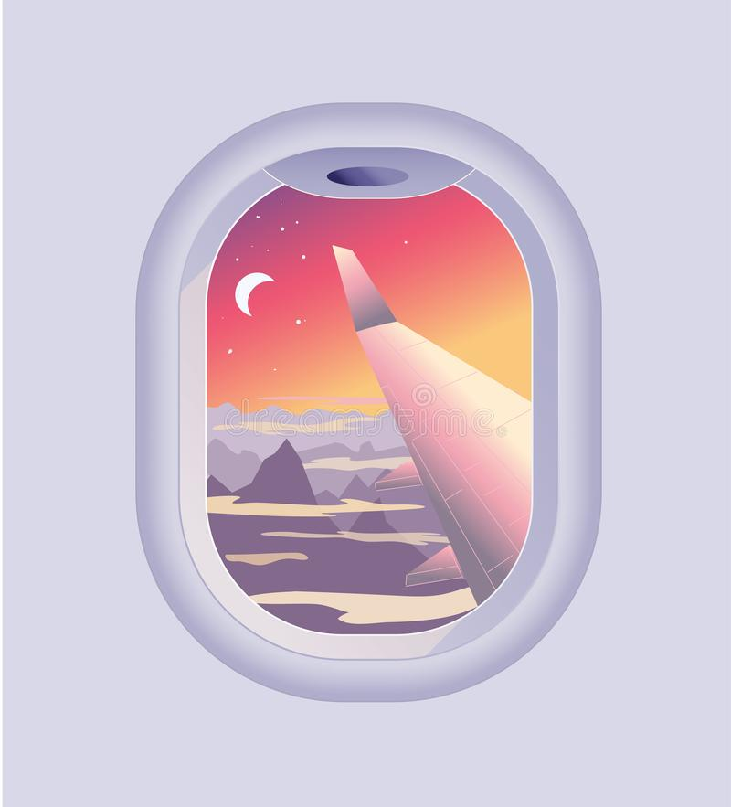 View from airplane window. Mountain landscape at sunrise or sunset. Flights and Travel vector illustration
