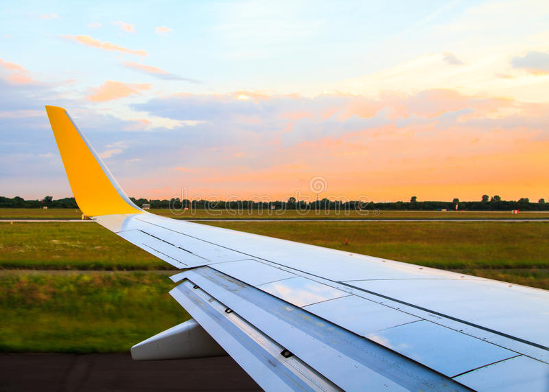 View from airplane window. To Düsseldorf airport royalty free stock images