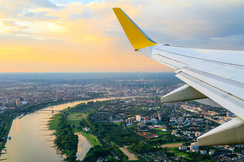 View from airplane window. To Dusseldorf royalty free stock images