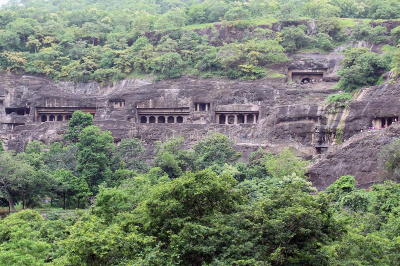 The view of Ajanta caves, the rock-cut Buddhist monuments. Taken in India, August 2018 stock image