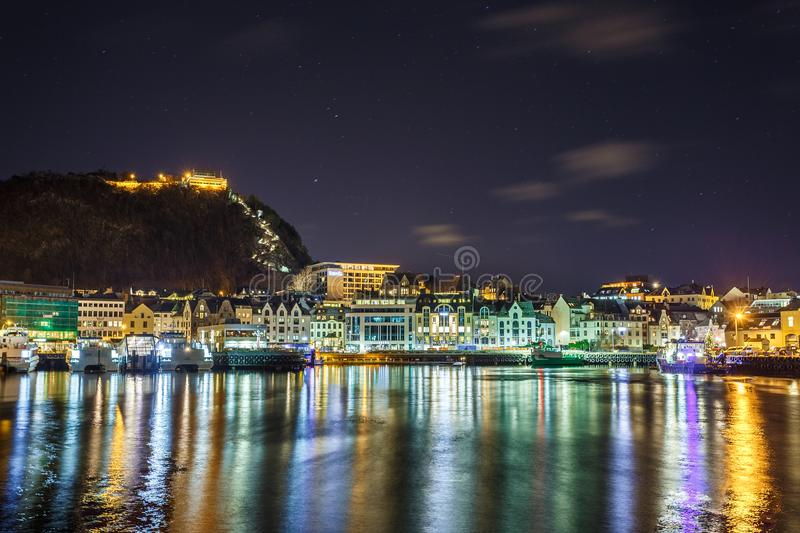 View of the Aksla hill in Alesund by night. royalty free stock photography