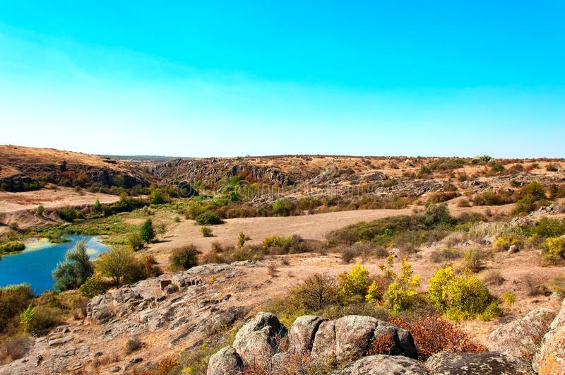 Aktov canyon in the autumn day in Mykolayiv region. View of the Aktov canyon in the autumn day in Mykolayiv region, Ukraine, national park Bugsky Gard royalty free stock image