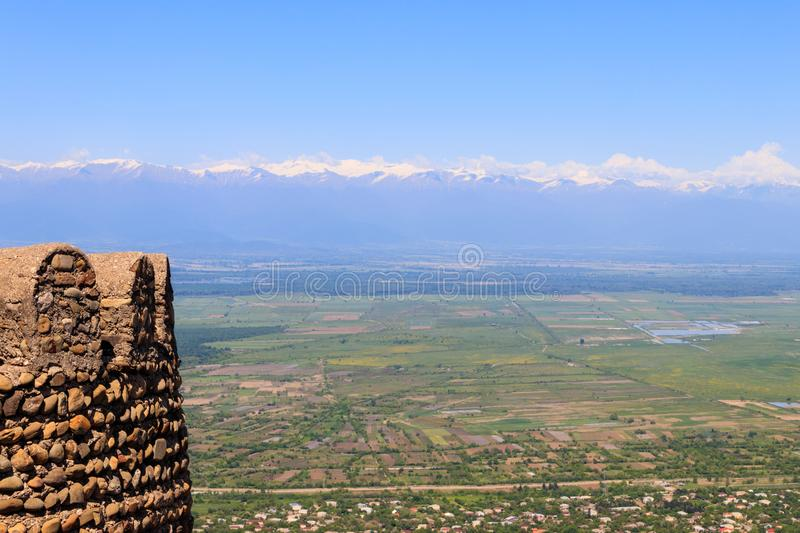 View on Alazani valley and tower of old city wall in city Sighnaghi. Kakheti, Georgia royalty free stock images