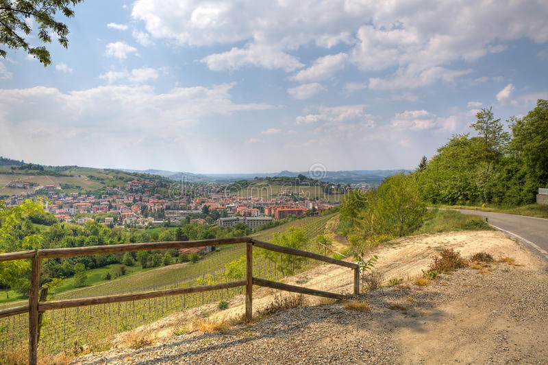 View on Alba among hill in Piedmont, Italy. royalty free stock photo