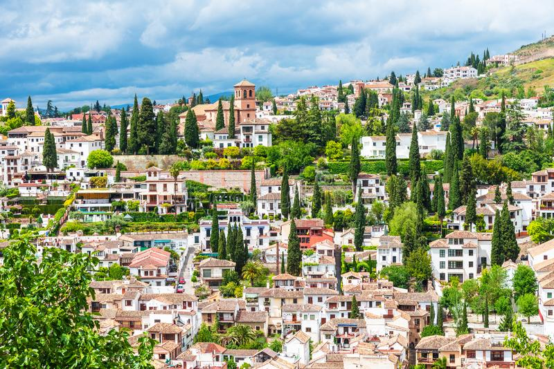 View of the Albaicin El Albayzin medieval district of Granada, Andalusia, Spain. View of the Albaicin El Albayzin medieval district on Granada, Andalusia, Spain royalty free stock image