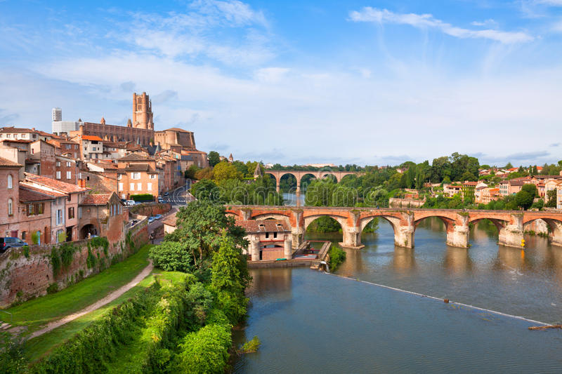 View of the Albi, France. View of the August bridge and The Saint Cecile church in Albi, France. Horizontal shot royalty free stock images