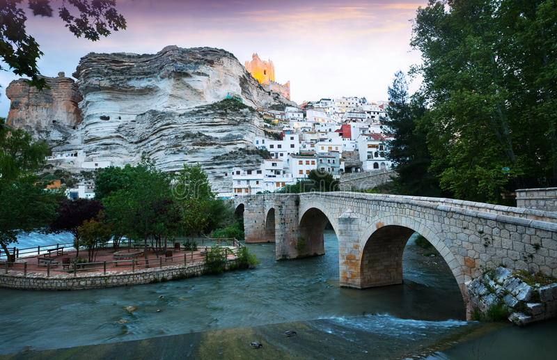 View of Alcala del Jucar with bridge. Spain stock photography
