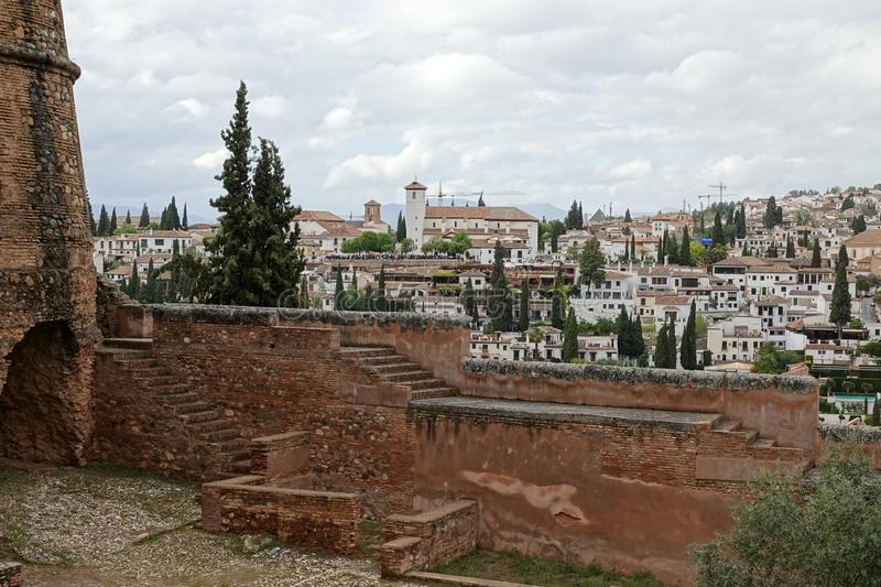 View from the Alcazaba of Alhambra to the Albaicin in Granada, Andalusia. The moorish complex Alhambra is located on top of the hill al-Sabika, on the left bank royalty free stock photo