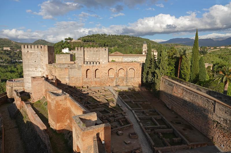 View from the Alcazaba of Alhambra to the Sierra Nevadaicin in Granada, Andalusia. The Alcazaba in the Alhambra in Granada is the oldest part of the fort. It was royalty free stock image