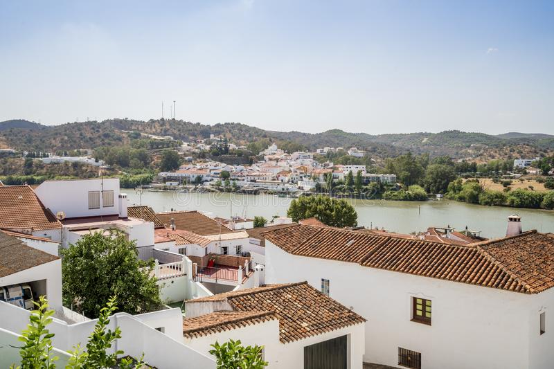 View of Alcoutim in Portugal and Sanlucar de Guadiana in Spain stock photo