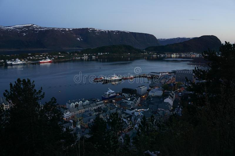 View of Alesund from mount Aksla, Norway at night.  stock photography