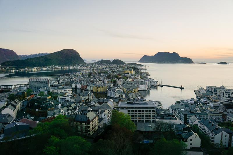 View of Alesund from mount Aksla, Norway at night.  stock photos