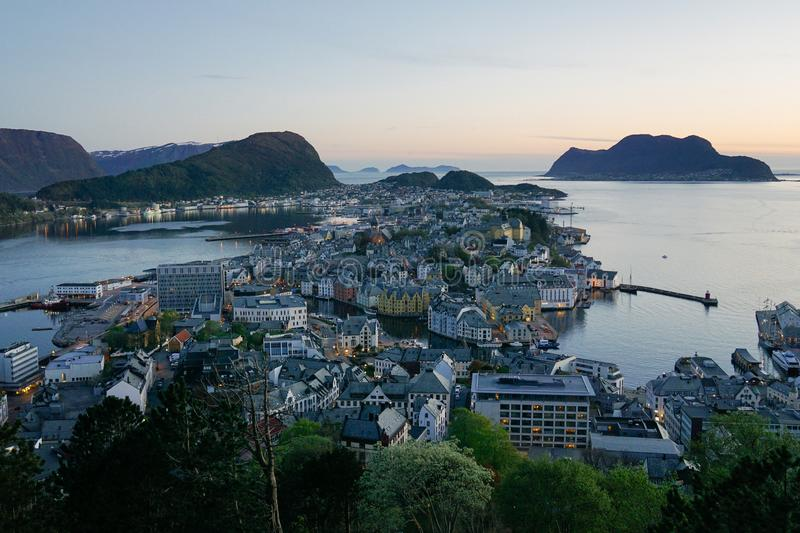 View of Alesund from mount Aksla, Norway at night.  royalty free stock photo