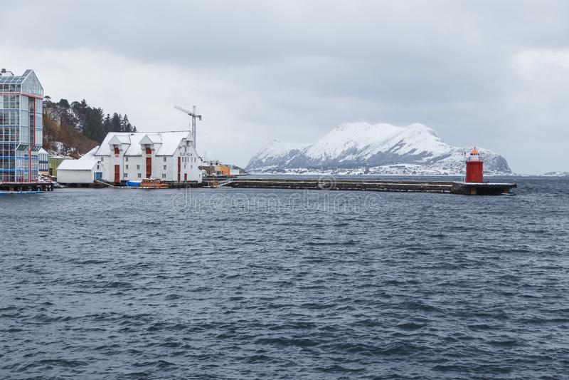 View of Alesund port town. City center. stock photos