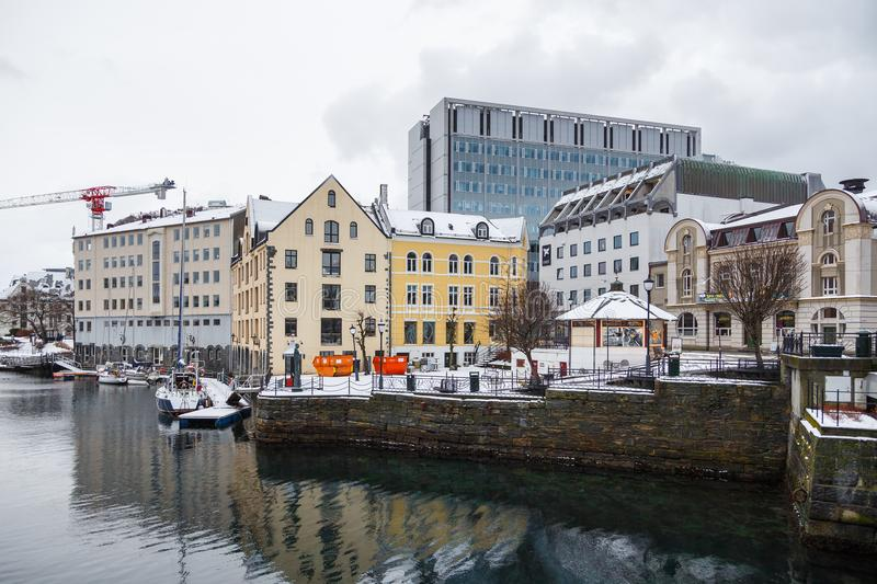 View of Alesund port town. City center. royalty free stock photo