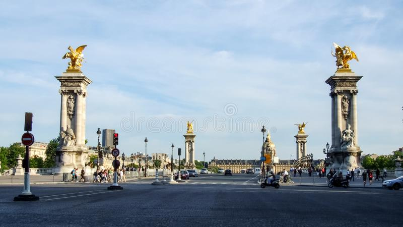 View on Alexander III bridge, Museum of Contemporary Art and Dome of Les Invalides in Paris in France. royalty free stock photo