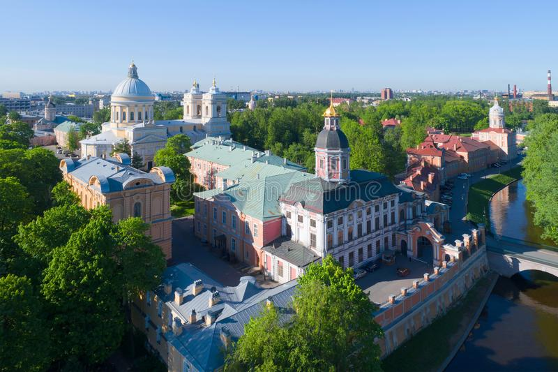 View of the Alexander Nevsky Lavra on a sunny May afternoon aerial photography. Saint-Petersburg, Russia. View of the Alexander Nevsky Lavra on a sunny May stock image