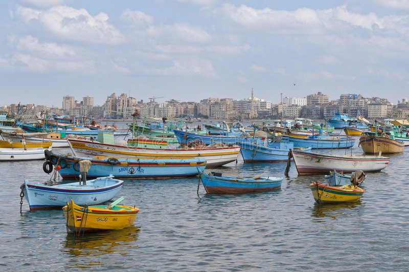 View of Alexandria harbor, Egypt stock photography