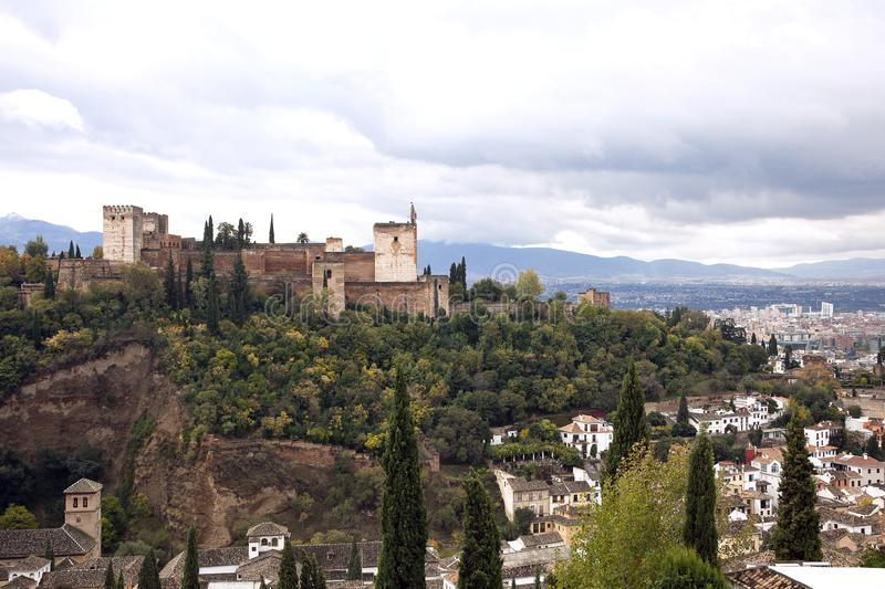 View of the Alhambra from the Albaicin stock photography