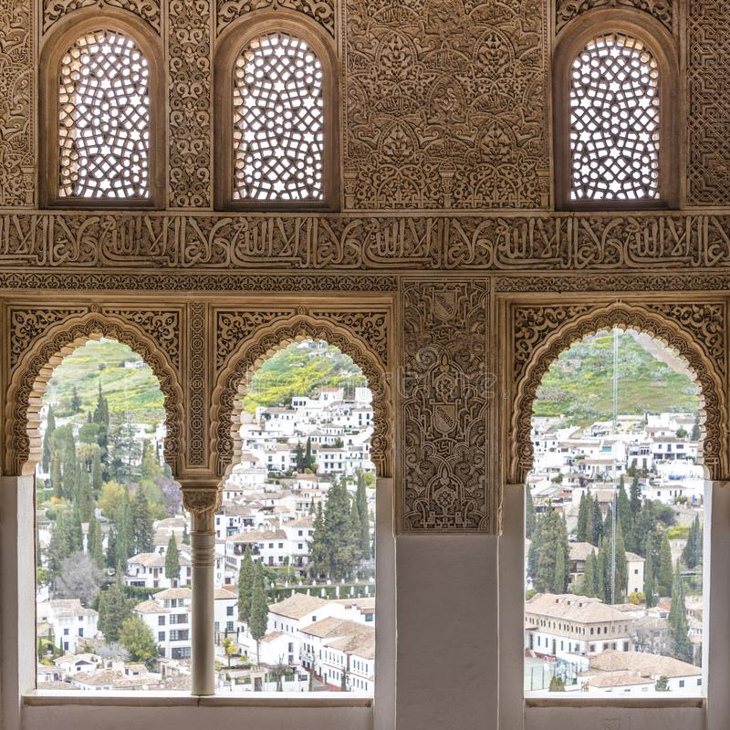 View from Alhambra onto Albayzin in Granada royalty free stock photo