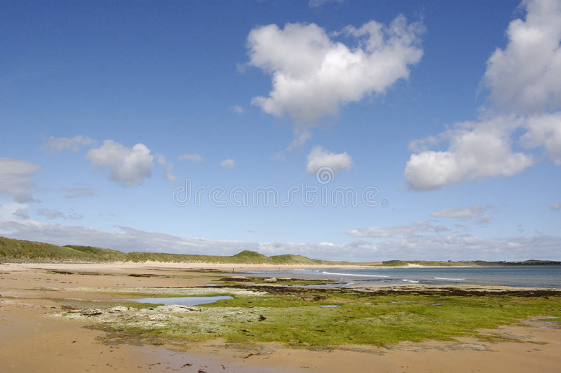 View along the beach at Dunstanburgh. Wide Panorama of the beach at Dunstanburgh, Northumberland, England stock images