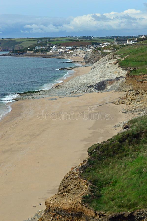 View along the cliffs towards Porthleven stock photography