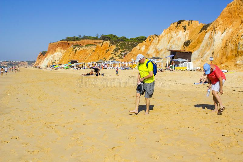 A view along the Falesia Beach in Portugal Albuferia stock photography