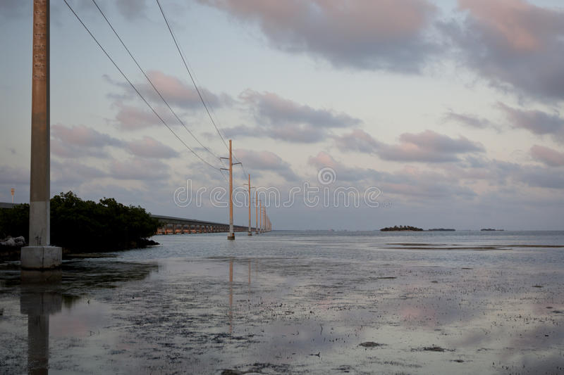 The view along Highway No 1 in Florida Keys royalty free stock image