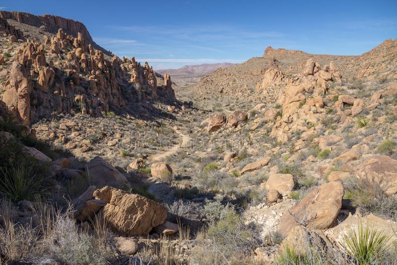 Hiking trail in Grapevine Hills, Big Bend National Park, Texas. View along the hiking trail to Balanced Rockin the Grapevine Hills area of of Big Bend National royalty free stock image