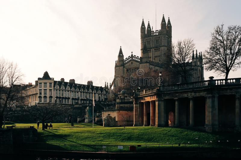 View of Bath Abbey over the river Avon in Bath, UK. royalty free stock photos