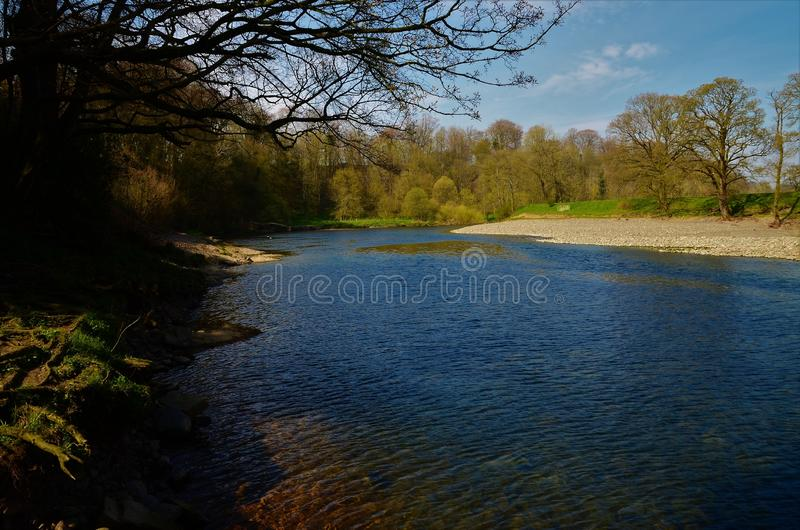 Landscapes of Cumbria - River Lune, Kirkby Lonsdale. A view along the river Lune in Kirkby Lonsdale in Cumbria royalty free stock photography