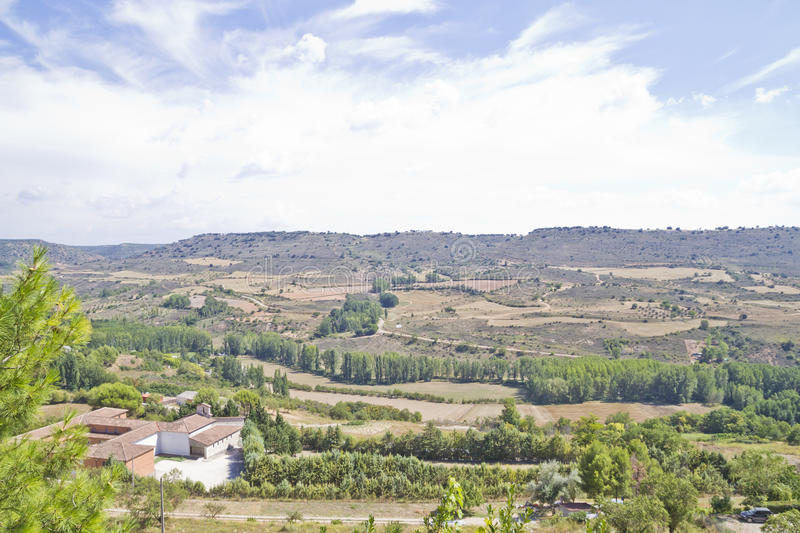 View along the river Tajo, with fields. Spain stock image