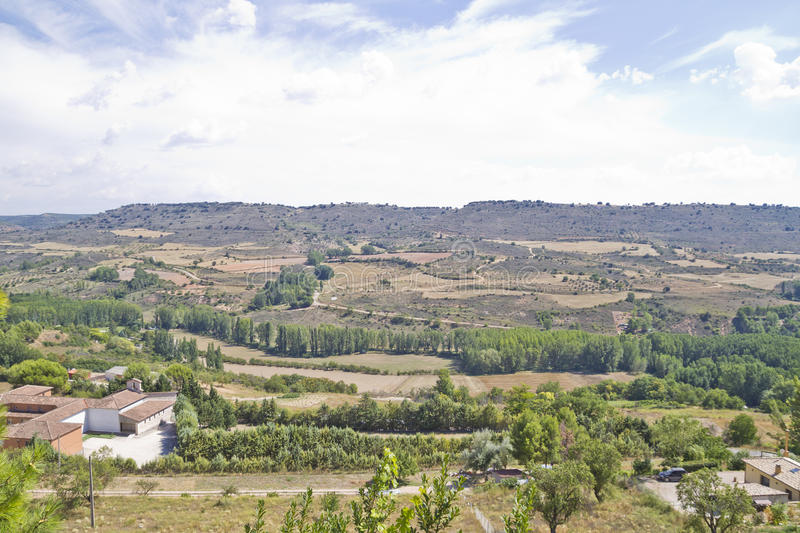 View along the river Tajo, with fields. Spain stock photo