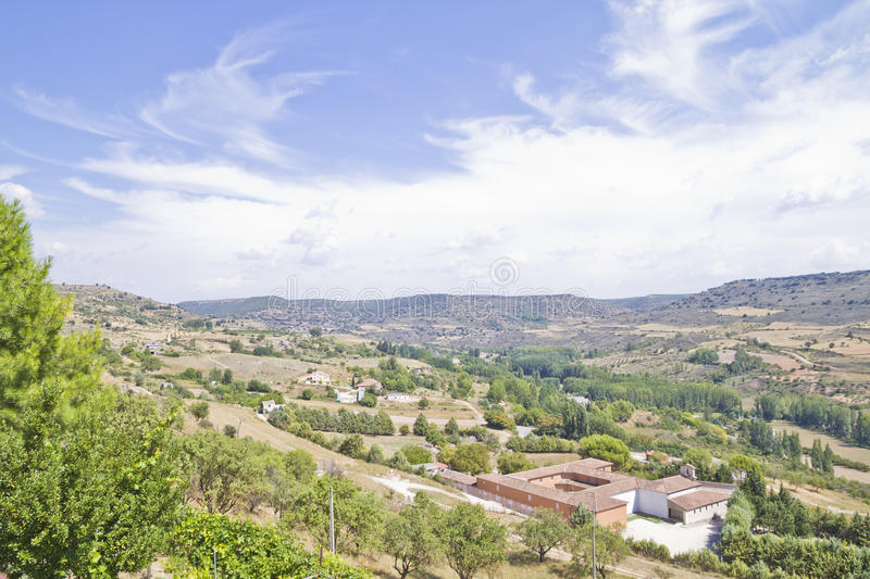 View along the river Tajo, with fields. Spain royalty free stock photos