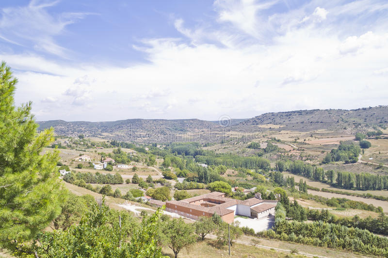 View along the river Tajo, with fields. Spain stock images