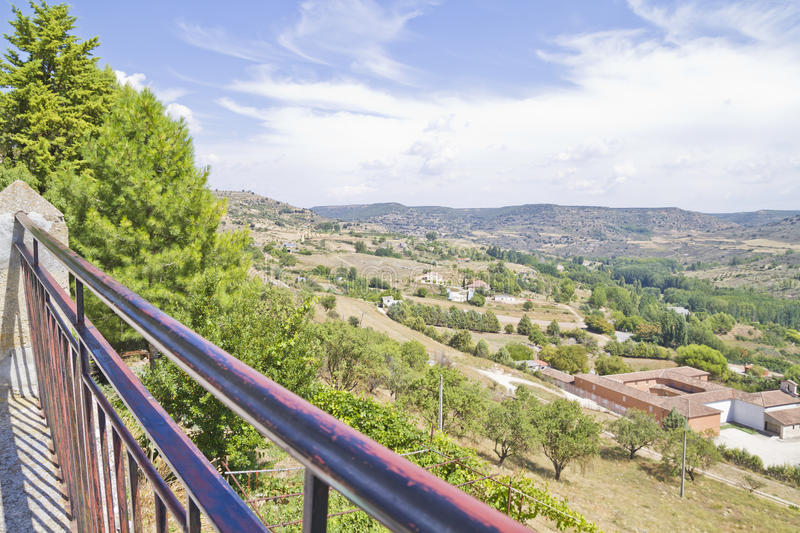 View along the river Tajo, with fields. Spain royalty free stock images