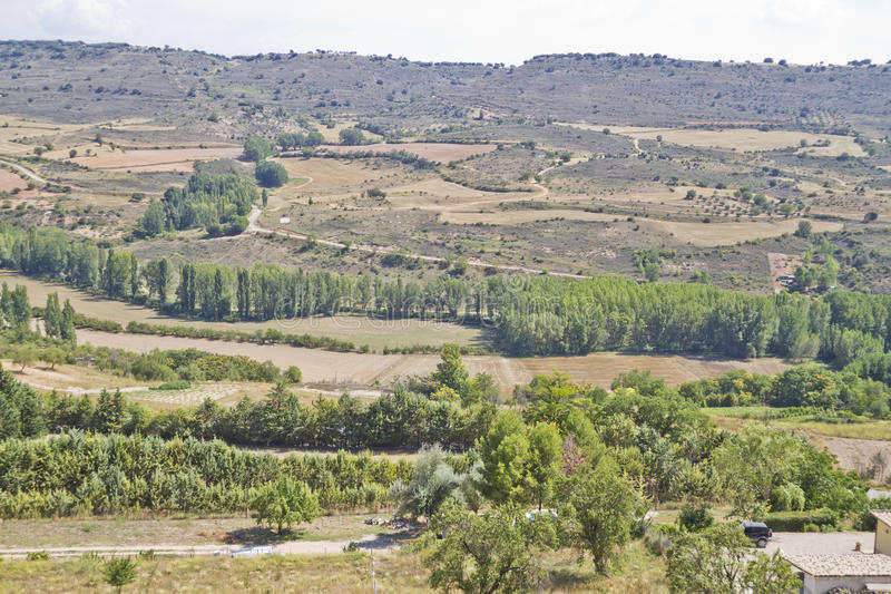 View along the river Tajo, with fields. Spain stock photos