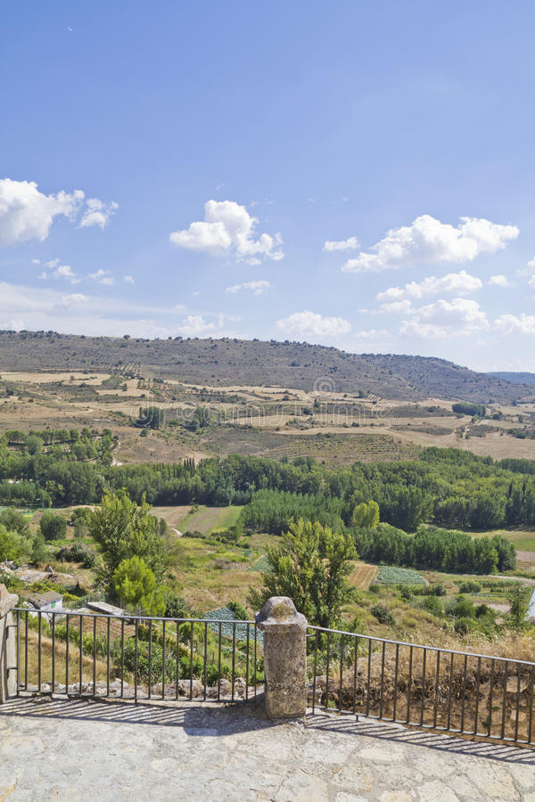 View along the river Tajo, with fields. Spain stock photography