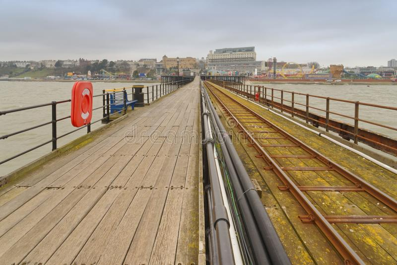 Southend Pier, essex, pier railway. View along southend Pier, Essex on a freezing cold day england, uk stock photo