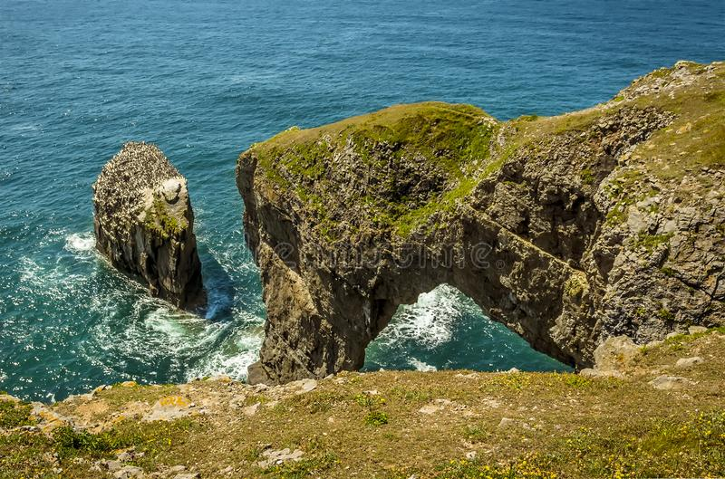 A view along the top of the Green Bridge of Wales on the Pembrokeshire coast royalty free stock photo