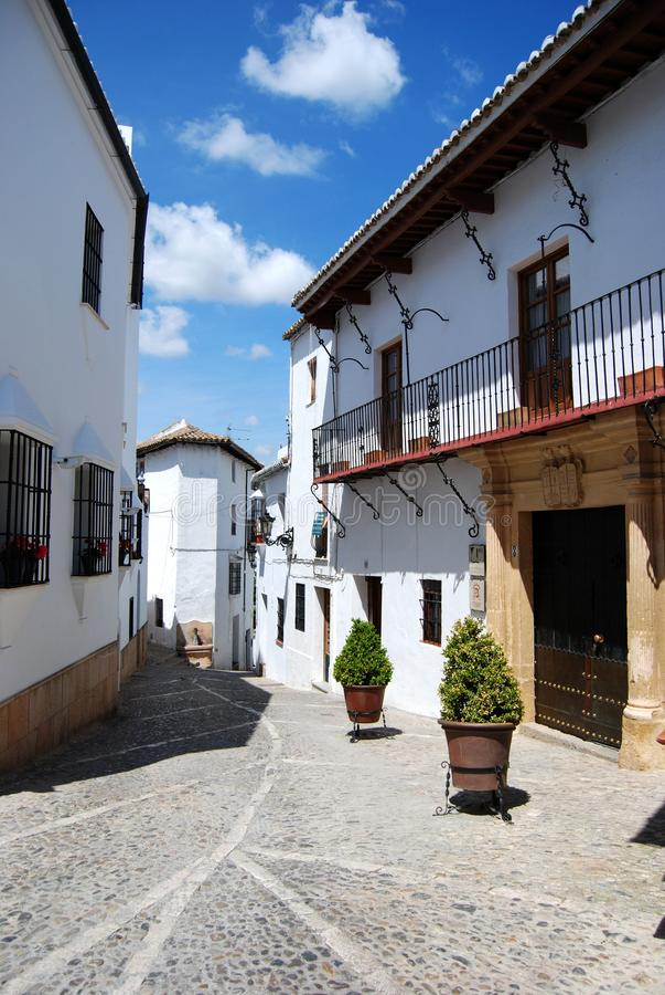 Old town street, Ronda, Spain. stock photos