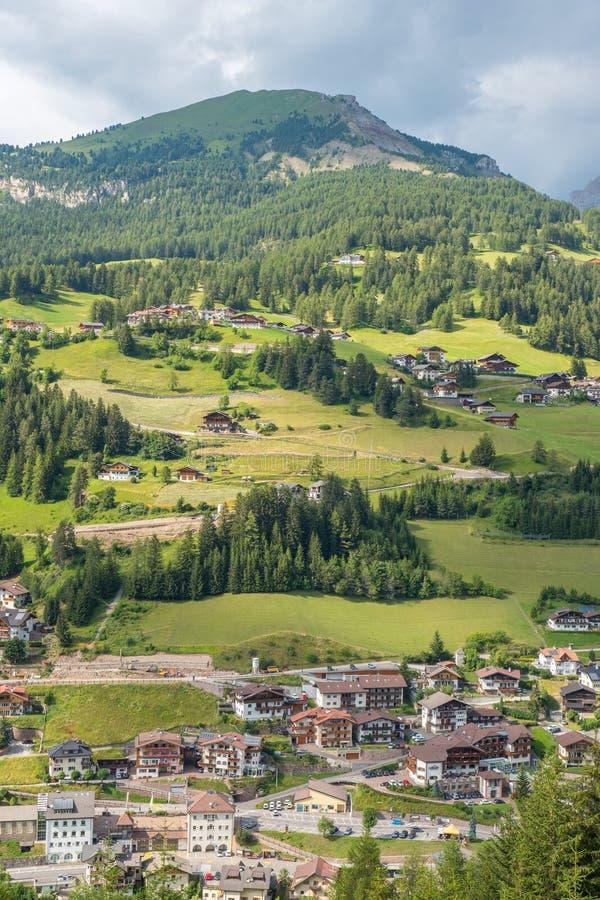 View at the alp village Santa Cristina in val gardena stock image