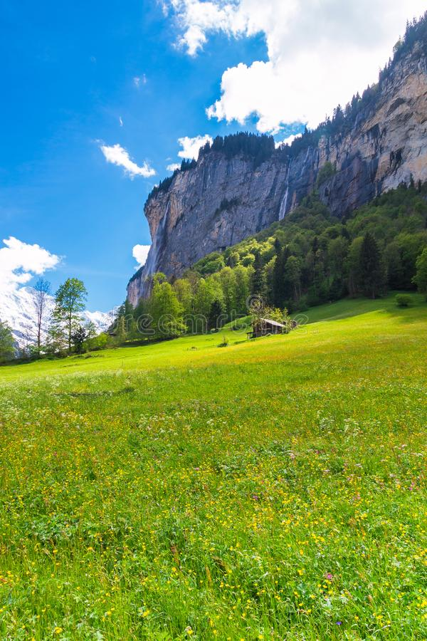 Chalets on green mountain slope. Swiss Alps. Lauterbrunnen, Switzerland, Europe. royalty free stock photography