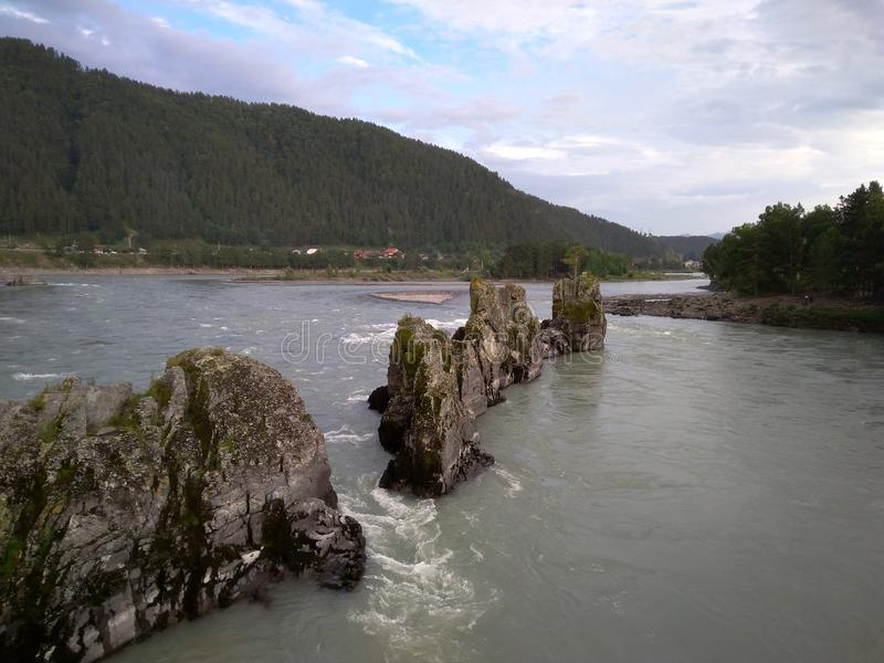 View of Altai mountains natural sharp rocks in Katun river dragon teeth royalty free stock photography