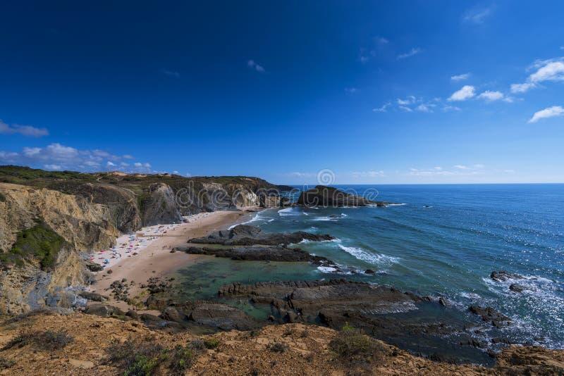 View of the Alteirinhos Beach Praia dos Alteirinhos near Zambujeira do Mar in Odemira, Alentejo, Portugal; stock photo