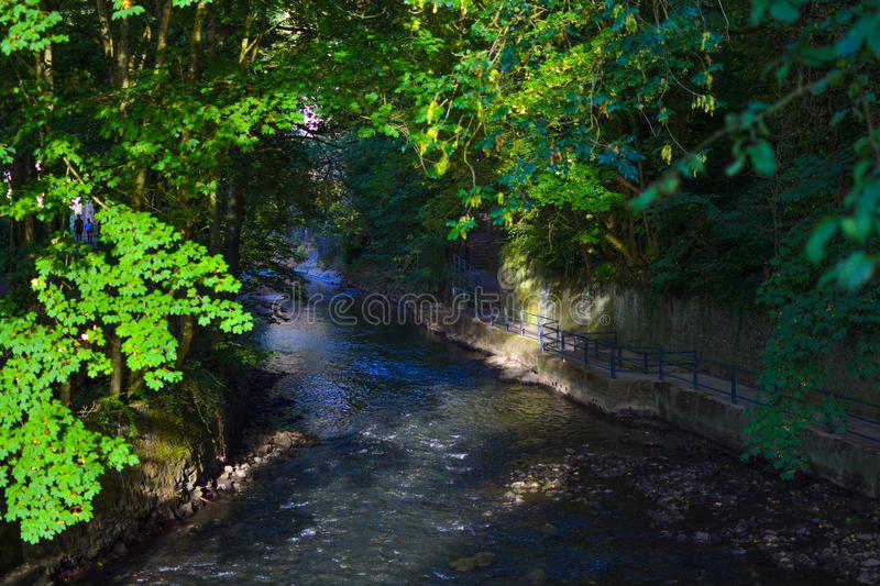 View of the Alzette river in a walk in the old town of Luxembourg City, Luxembourg royalty free stock photography