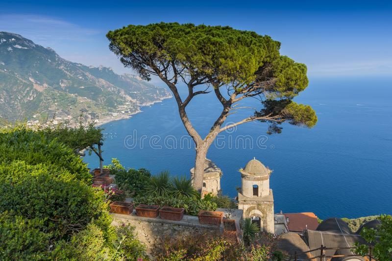 View of the Amalfi Coast and Gulf of Salerno from Villa Rufolo in the hilltop town of Ravello in Campania, Italy royalty free stock photography