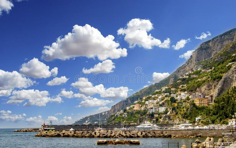 The view of Amalfi coast. This is on the south of Italy in Europe. The city stands on cliffs above the sea royalty free stock photos