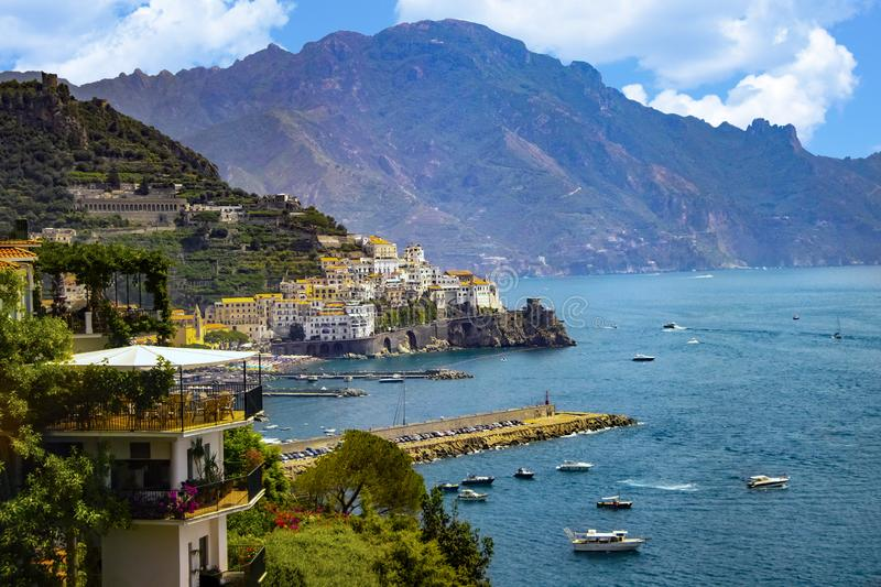 The view of Amalfi coast. This is on the south of Italy in Europe. The city stands on cliffs above the sea stock photo