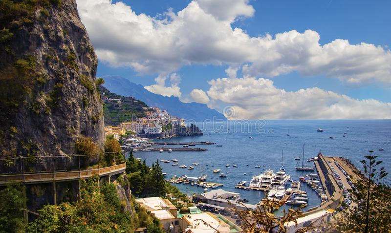 The view of Amalfi coast. This is on the south of Italy in Europe. The city stands on cliffs above the sea royalty free stock photography